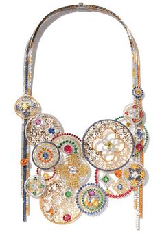Louis Vuitton, 2009...  18k white gold, red gold and yellow gold, garnet, spinel, tsavorite, multi­colored sapphire, fire opal and diamond necklace.