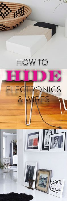 Wires and electronics used daily can often clutter homes and apartments. Organize and clean up wire overload with these sneaky and clever tricks to hiding electronics. These EASY DIY projects are also renter-friendly options!