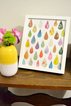 easy raindrop art made from a recycled magazine