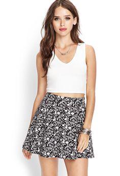 Floral Print Skater Skirt | FOREVER21 - 2055880076