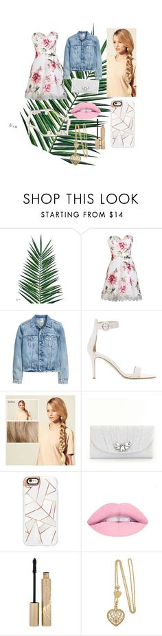 """Denim Jacket 2"" by kaitlynthestylist on Polyvore featuring Nika, Gianvito Rossi, Hershesons, Kate Landry, Casetify and Stila"