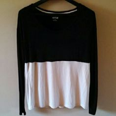 Apt 9 Black & Cream Color Block Top Black and cream color block top. Very soft and in great condition. Worn once. Large fit. Machine wash cold gentle cycle and flat dry. Apt. 9 Tops
