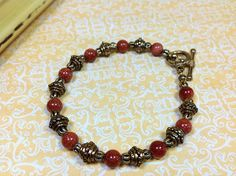 Brown Goldstone Bracelet Goldstone and Antiqued by JewelryCharmers, $17.00