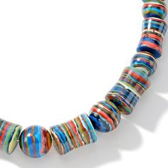"""Jay King Rainbow Calsilica Bead Sterling Silver 18"""" Necklace at HSN.com."""