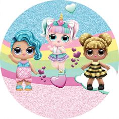 Painel de Festa Redondo Tecido Arco-íris Boneca Lol no Art For Kids, Crafts For Kids, Edible Printing, Paper Dolls Printable, Doll Party, Lol Dolls, Birthday Cake Toppers, Minnie, Unicorn Party