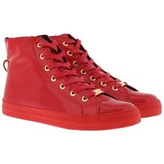 Love Moschino Sneakers - Sneaker High Red - in red - Sneakers for... (190 AUD) ❤ liked on Polyvore featuring shoes, red, red shoes, print shoes, love moschino shoes, zipper shoes and decorating shoes