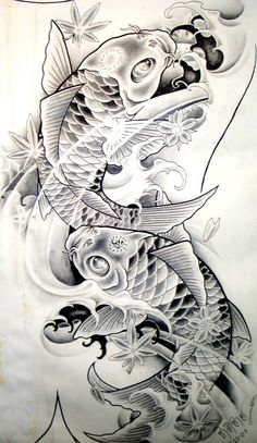 Koi Fish-Tattoo Sketches ~ Our Tattoo Shop Tattoo Sketches, Tattoo Drawings, Body Art Tattoos, Sleeve Tattoos, Carp Tattoo, Koi Fish Tattoo, Tattoo Arm, Koi Fish Drawing, Fish Drawings