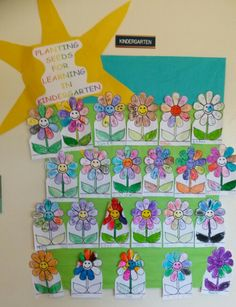 Kinder Planting seeds of Learning Bulletin Board.... Have the students write an uppercase and lowercase letter they have learned in each flower petal.  You can also do sight words in each petal.