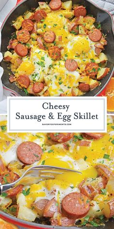 Sausage and Egg Skillet is a delicious breakfast skillet with andouille sausage,. - Sausage and Egg Skillet is a delicious breakfast skillet with andouille sausage, potato, eggs and g -