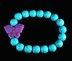 Charming Howlite Turquoise Purple Butterfly Blue Ball Beads Stretch Bracelet