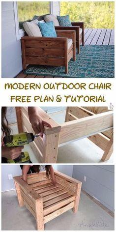 DIY Outdoor Seating Projects Tutorials - DIY Modern Outdoor Chair Tutorial