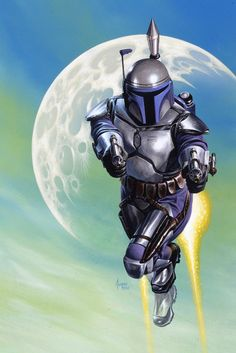 Star Wars - Jango Fett by Joe Jusko Jango Fett, Star Wars Boba Fett, Star Wars Saga, Star Trek, Heavy Metal, Dc Comics, Mandalorian Armor, Pin Up, Star Wars Pictures