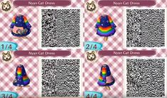 Here's a list of some of our favorite Animal Crossing: New Horizons QR codes you can import into your game to spice up your island. Animal Crossing 3ds, Animal Crossing Villagers, Animal Crossing Qr Codes Clothes, Brock Pokemon, Motif Acnl, Moon Rainbow, Rainbow Outfit, Nyan Cat, Cat Dresses