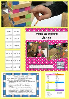 Mixed Operations Jenga is an interactive math game to reinforce addition, subtraction, multiplication, and division. Directions and 2 game versions included: a mat (to save on printing) and task cards.