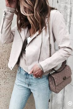 what to wear with a nude biker jacket : top + bag + jeans