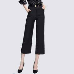 NADANBAO 2017 New Active Black Women Pants Straight Wide Leg Pants Disposition Calf Length Loose Baggy Trousers Women Casual