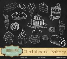 Chalkboard Bakery Clipart PNG Cupcakes by OriginsDigitalCurio