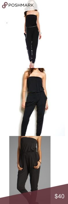 Armani Exchange Strapless Jumpsuit Black silk jumpsuit with silver chain  belt  Very comfortable A/X Armani Exchange Pants Jumpsuits & Rompers