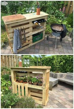 Everything at hand for a perfect BBQ: get hold of 2 similar block pallets. preferably sized around 110 x get some boards from e. fences, around 10 -(Diy Garden Projects) Old Pallets, Pallets Garden, Recycled Pallets, Wooden Pallets, Pallet Gardening, Flower Gardening, Recycled Wood, Diy With Pallets, Bar Made From Pallets