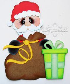 Premade Paper Piecing for Scrapbook Page Santa by bljgravesstudio