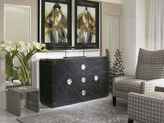 With special pieces, it's all in the details. The black domino chest subtly demands attention. Store Fronts, Accent Furniture, Home Staging, Storage Solutions, Art Pieces, New Homes, Floor Plans, Flooring, Living Room