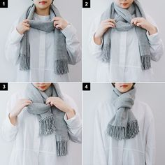 Ways To Tie Scarves, Ways To Wear A Scarf, How To Wear Scarves, Diy Fashion Hacks, Fashion Outfits, Womens Fashion, Fashion Tips, Scarf Knots, Scarf Design