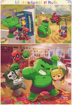Adventures of Lil' Deadpool and Hulk - Geek Art - News - GeekTyrant #Deadpool #cute