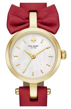 Women's kate spade new york 'tiny metro - bow' leather strap watch, 20mm