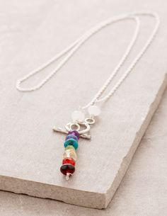 Chakra Rainbow Silver Lariat
