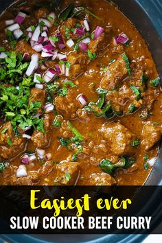 This Slow Cooker Beef Curry is a simple, prepare ahead midweek meal. A tasty 'fakeaway' curry, the slow cooked beef pieces are cooked in a tomato sauce. This crock pot beef stew style curry is also easily adaptable to the Slimming World or Weight Watchers plan as it's light, healthy and low fat #crockpotrecipe #slowcookerrecipe #beefcurry #curryrecipe #tamingtwins Slow Cooker Recipes, Meat Recipes, Crockpot Recipes, Cooking Recipes, Slow Cooker Beef Curry, Slow Cooked Beef, Family Recipes, Family Meals, Meat Dish
