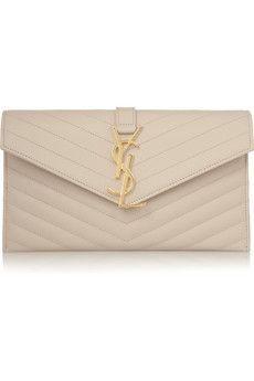 Saint Laurent Monogramme quilted leather envelope clutch | NET-A-PORTER