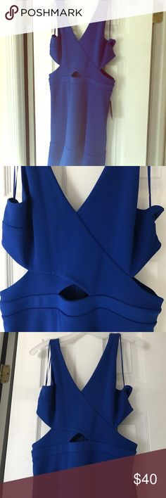 Royal Blue Cut Out side Mini Dress Sexy mini dress, with cut out sides and zipper back, never worn, cute and flirty!! Express Dresses Mini