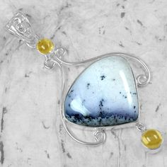 9.14 Gm 925 Sterling silver Natural Fine Dendrite Opal Citrine Pendant Jewelry $ #Unbranded