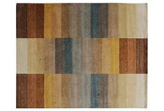 9x12 pattern wool rug (cocoa, gold, slate blue, greige, taupe) -- something similiar for lvg rm