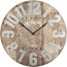Oversize Aged Rustic Wall Clock Natural