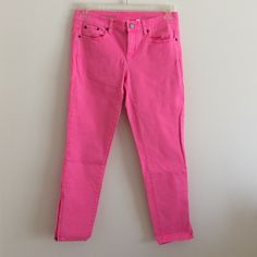 JCREW toothpick ankle size 29 neon pink Pop of pink! Size 29 ankle has some stretch :) comfortable colored denim jeans worn once J. Crew Jeans