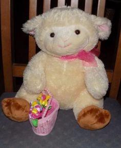 12-034-Sitting-WALMART-BRAND-Cream-amp-Pink-PLUSH-Lamb-Sheep-w-Flower-Basket-13