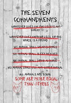 The Seven Commandments - Animal Farm Framed Art Print by Foster Child - Vector Black - Farm Art, Framed Art Prints, Animal Farm Commandments, Animal Farm George Orwell, All Animals Are Equal, Animal Books, Animal Farm Book, The Seven, Quotes
