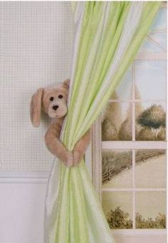 curtain panels, girl bedroom with puppy dog theme drapery tie backs