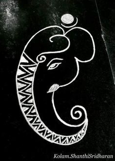 Ideas for pop art drawings simple Ganpati Drawing, Ganesha Drawing, Ganesha Painting, Ganesha Art, Realistic Pencil Drawings, Animal Drawings, Art Drawings, Beautiful Rangoli Designs, Kolam Designs