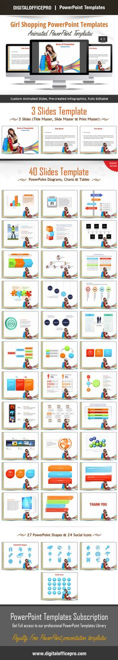 Impress and Engage your audience with Girl Shopping PowerPoint Template and Girl Shopping PowerPoint Backgrounds from DigitalOfficePro. Each template comes with a set of PowerPoint Diagrams, Charts & Shapes and are available for instant download.