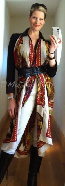 How to wear, tie and knot Hermes scarves and CSGMs, Tutorial, comment porter une châle, scarf tops and tunics