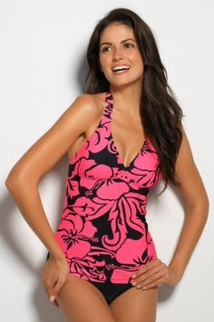 Hapari Leilani V-Neck Tankini Top. Love this bright pattern for summer! <3  All Hapari tankinis come with very supportive built-in bras. I own several of their tankinis. Very high quality and cute!