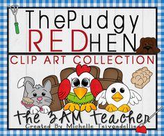 Little Red Hen Clip Art Set - Pudgy Style!!!