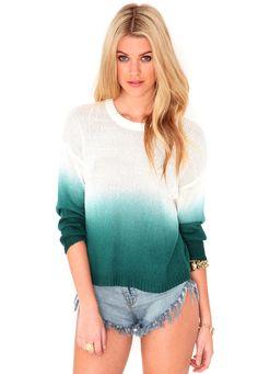 **WISH LIST** Dorris Dip Dye Knitted Jumper In Deep Green