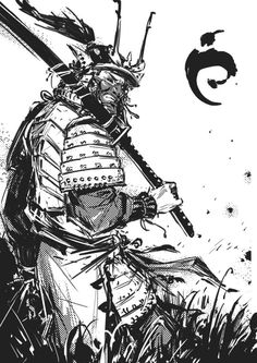 Masks Men by Kael Ngu Samurai Drawing, Samurai Artwork, Samurai Tattoo, Demon Tattoo, Oni Samurai, Samurai Warrior, Character Art, Character Design, Really Cool Drawings