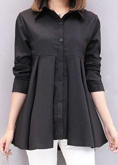 Black Button Up Long Sleeve Shirt at Rosewe.com