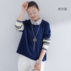 Toyouth Autumn New Women's Sweaters Fake Two Piece Hemp Flowers Turn-Down Collar Loose Pullovers Female Knitted Tops