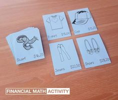 Financial math activity - learning about budgeting, adding money values and calculating change. Math Worksheets, Math Activities, Math Tutor, Fun Learning, Mathematics, Budgeting, Place Card Holders, Ads, Education