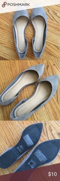 Forever 21 Grey Suede D'Orsay Flats Never worn! Great color. Forever 21 Shoes Flats & Loafers